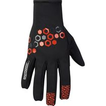 Madison Element men's softshell gloves, hex black / chilli red small