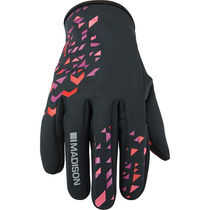 Madison Element women's softshell gloves, black / chilli red