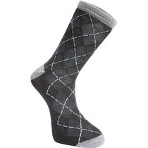 Madison Assynt merino long sock, argyle black