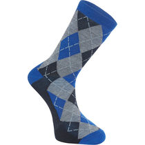 Madison Assynt merino long sock, argyle ultra blue