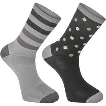 Madison Sportive long sock twin pack, hex dots black/cloud grey