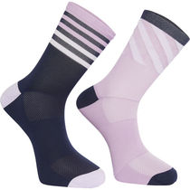 Madison Sportive mid sock twin pack, diamonds ink navy / palma violet