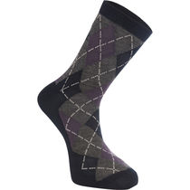 Madison Assynt merino mid sock, argyle ink navy