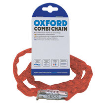 Oxford Products Combi Chain Combination Lock 36' - Red